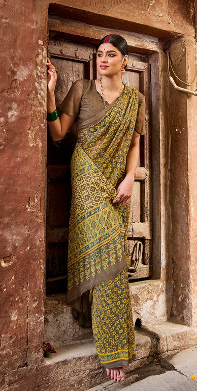 Yellow and Mud Color Georgette Casual Wear Saree -  Emily Collection  YF#11581