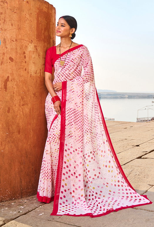 Off white and Pink Color Georgette Casual Wear Saree -  Emily Collection  YF#11583
