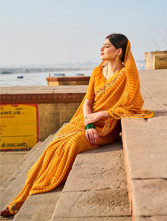 Yellow and Red Color Georgette Casual Wear Saree -  Emily Collection  YF#11584