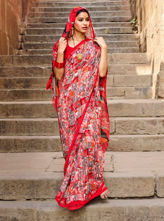 Off white and Red Color Georgette Casual Wear Saree -  Emily Collection  YF#11591