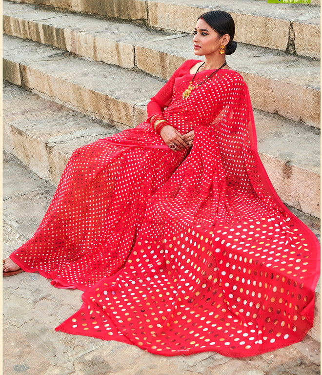 Red and Off white Color Georgette Casual Wear Saree -  Emily Collection  YF#11593