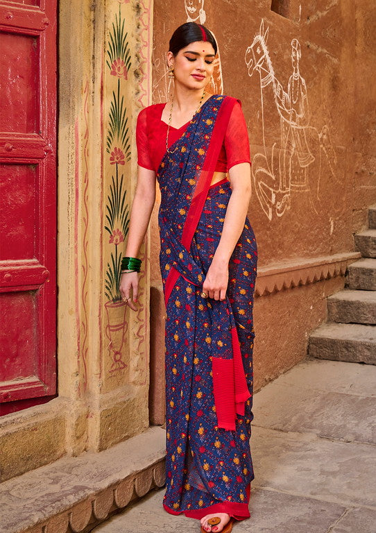Blue and Red Color Georgette Casual Wear Saree -  Emily Collection  YF#11595