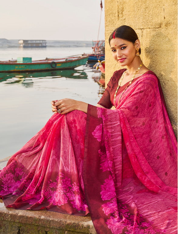 Pink Color Georgette Casual Wear Saree -  Emily Collection  YF#11597