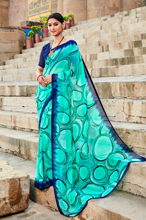 Light and Dark Blue Color Georgette Casual Wear Saree -  Emily Collection  YF#11601