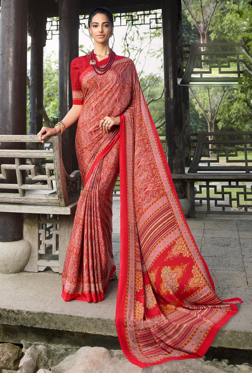 Red Color Crepe Office Wear Sarees NYF-8553