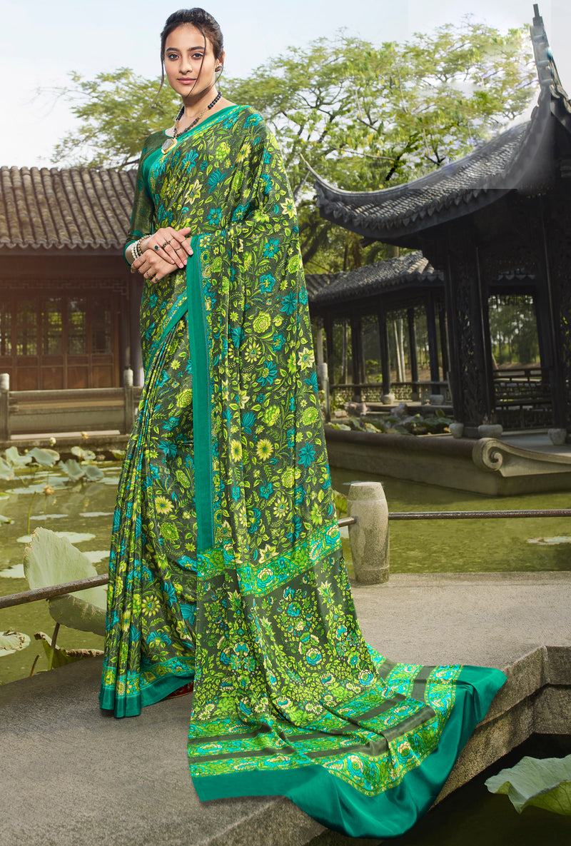 Green Color Crepe Office Wear Sarees NYF-8556