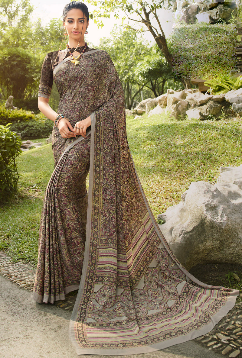 Brown Color Crepe Office Wear Sarees NYF-8557