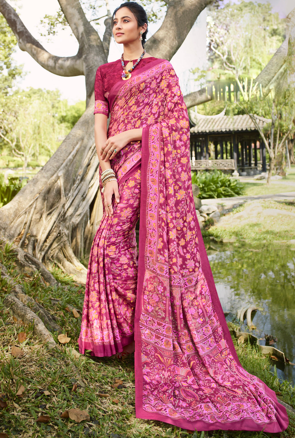 Pink Color Crepe Office Wear Sarees NYF-8558