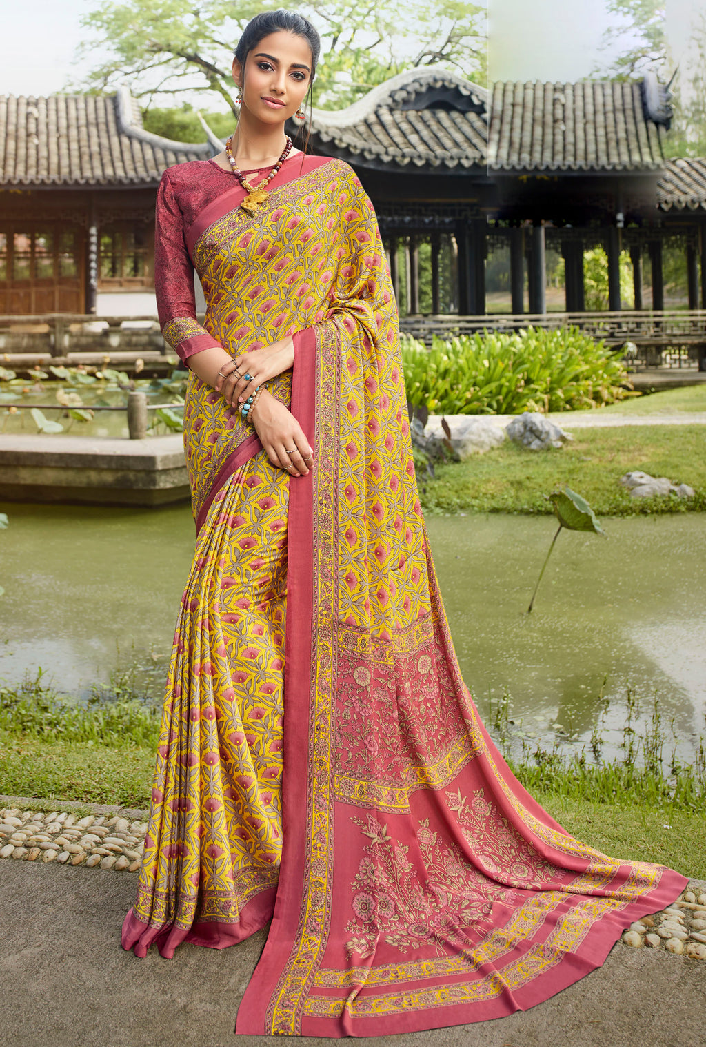 Yellow  Color Crepe Office Wear Sarees NYF-8561