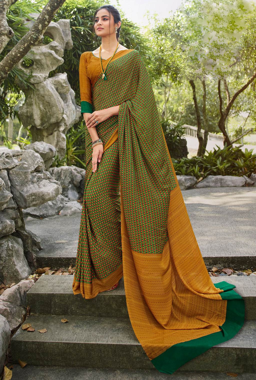 Green & Mustard Yellow Color Crepe Office Wear Sarees NYF-8563