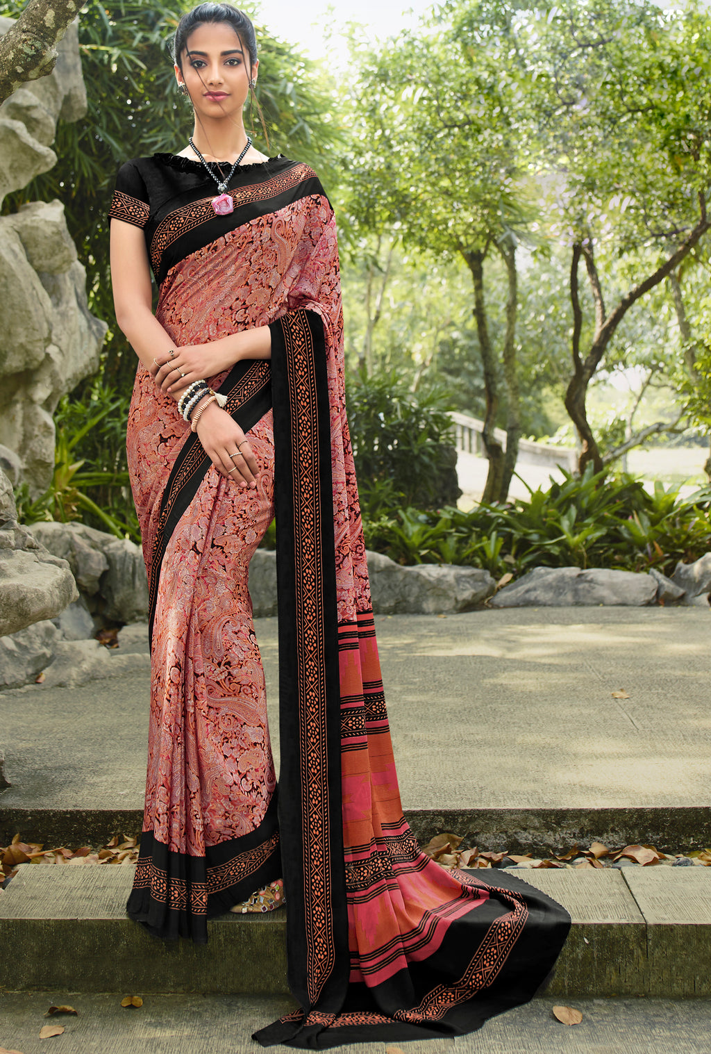 Pink Color Crepe Office Wear Sarees NYF-8564