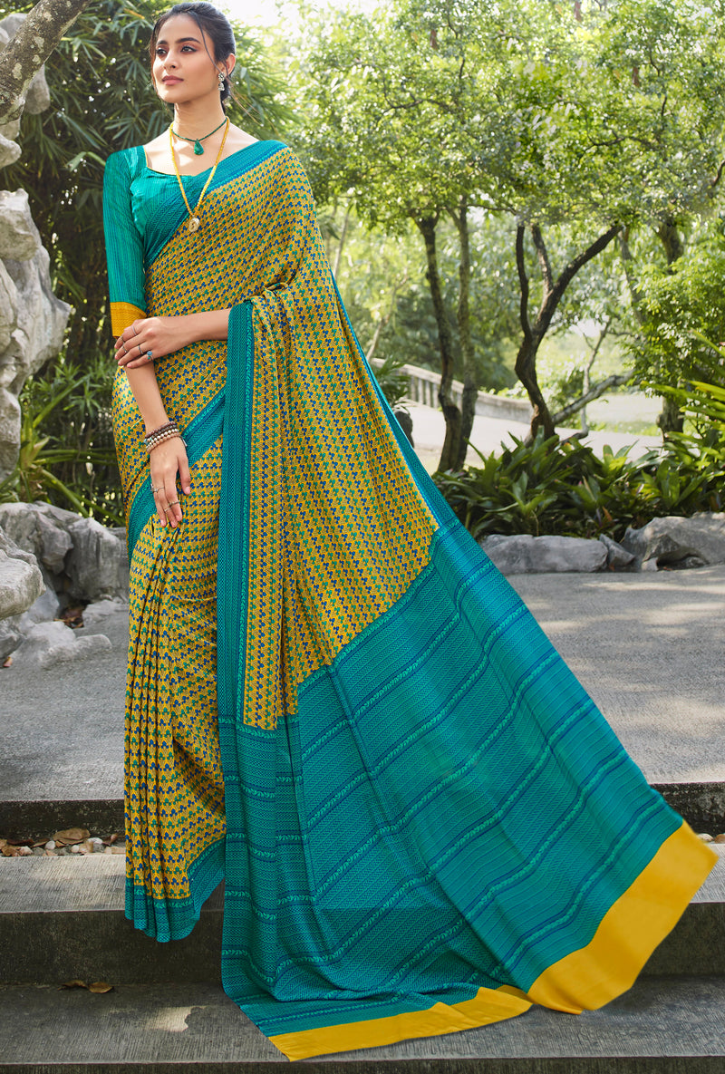 Yellow Color Crepe Office Wear Sarees NYF-8566