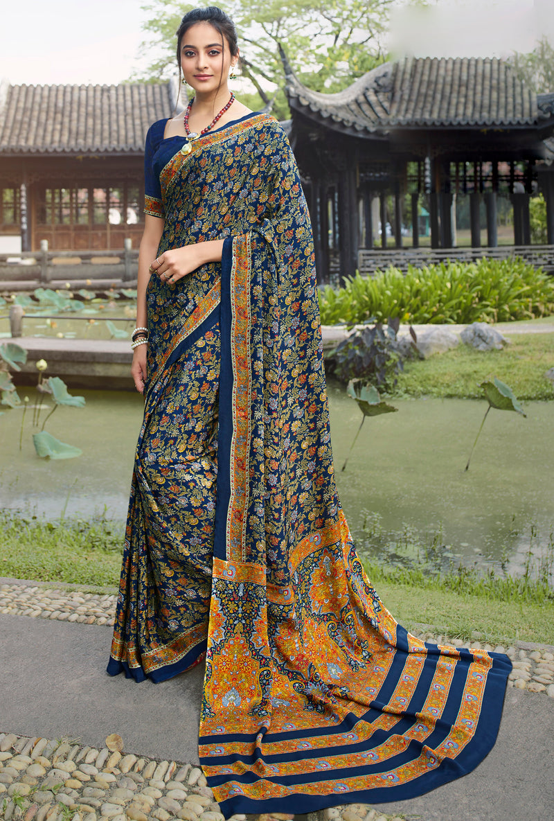 Blue Color Crepe Office Wear Sarees NYF-8570