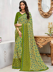 Green Color Wrinkle Chiffon Designer Party Wear Sarees : Pinaki Collection YF-69115