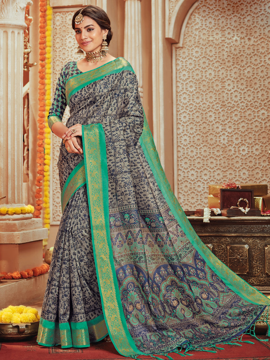 Grey Color Bhagalpuri Festive & Party Wear Sarees NYF-8668