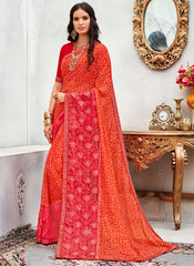 Pink & Red Color Wrinkle Chiffon Designer Party Wear Sarees : Pinaki Collection YF-69116