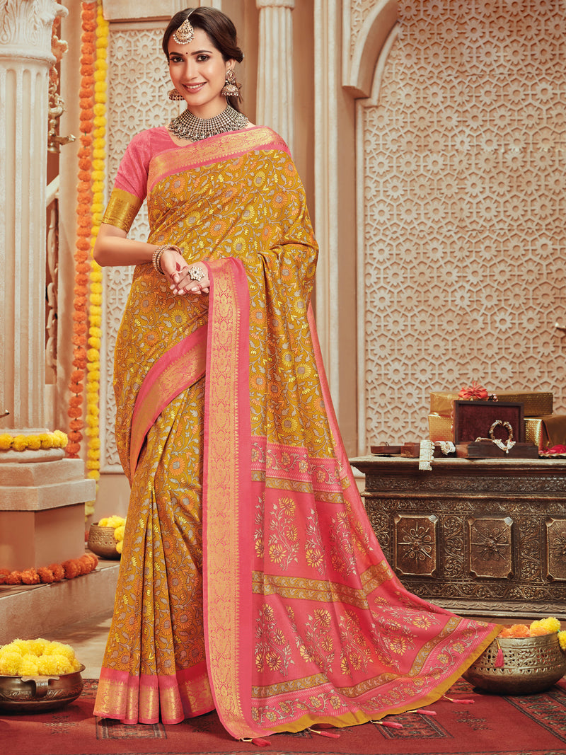 Mustard Yellow Color Bhagalpuri Festive & Party Wear Sarees NYF-8669