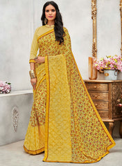 Yellow Color Wrinkle Chiffon Designer Party Wear Sarees : Pinaki Collection YF-69117