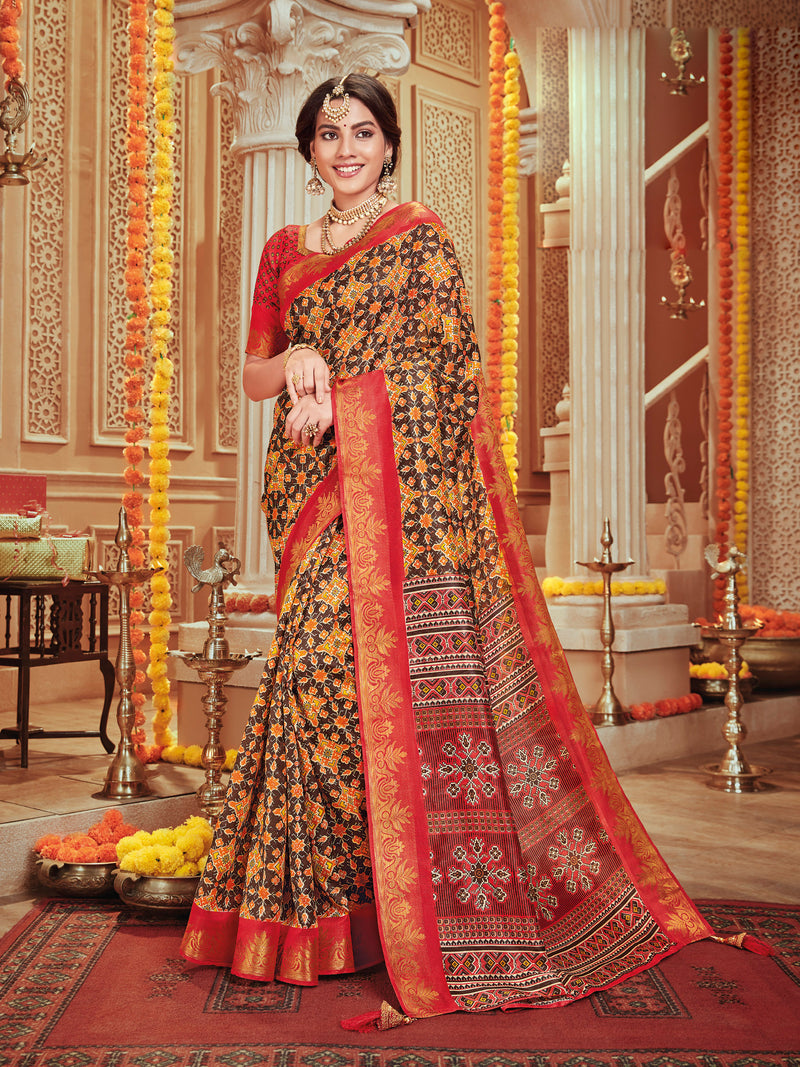 Brown Color Bhagalpuri Festive & Party Wear Sarees NYF-8670