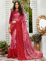 Pink Color Wrinkle Chiffon Designer Party Wear Sarees : Pinaki Collection YF-69118