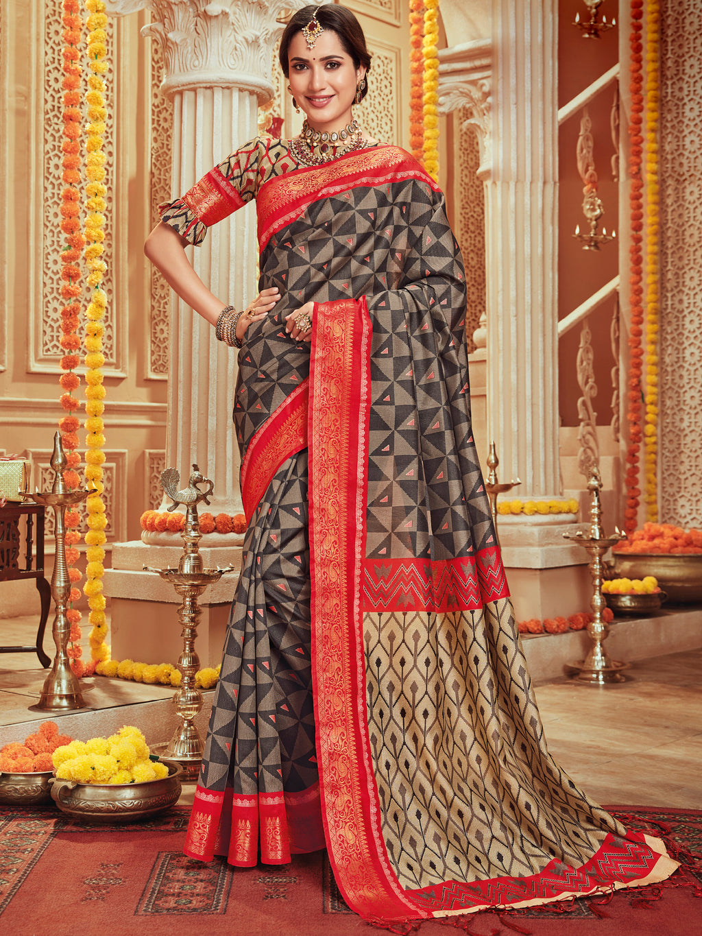 Grey Color Bhagalpuri Festive & Party Wear Sarees NYF-8671