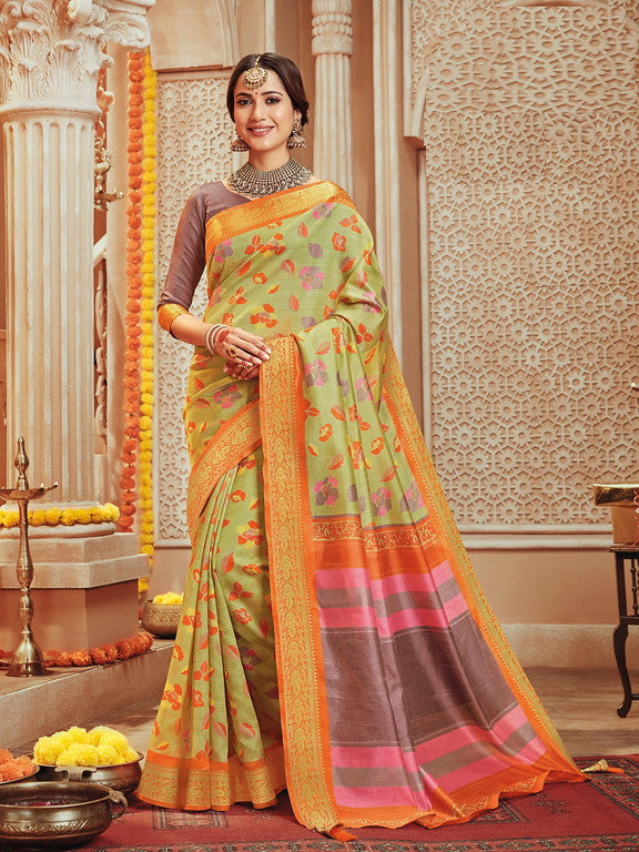 Pastel Green and Orange Color Art Silk Material with Wooven Border Function wear Saree-Snehal Collection YF#10070