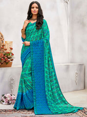 Green & Blue Color Wrinkle Chiffon Designer Party Wear Sarees : Pinaki Collection YF-69119
