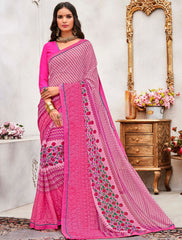Pink Color Wrinkle Chiffon Designer Party Wear Sarees : Pinaki Collection YF-69120