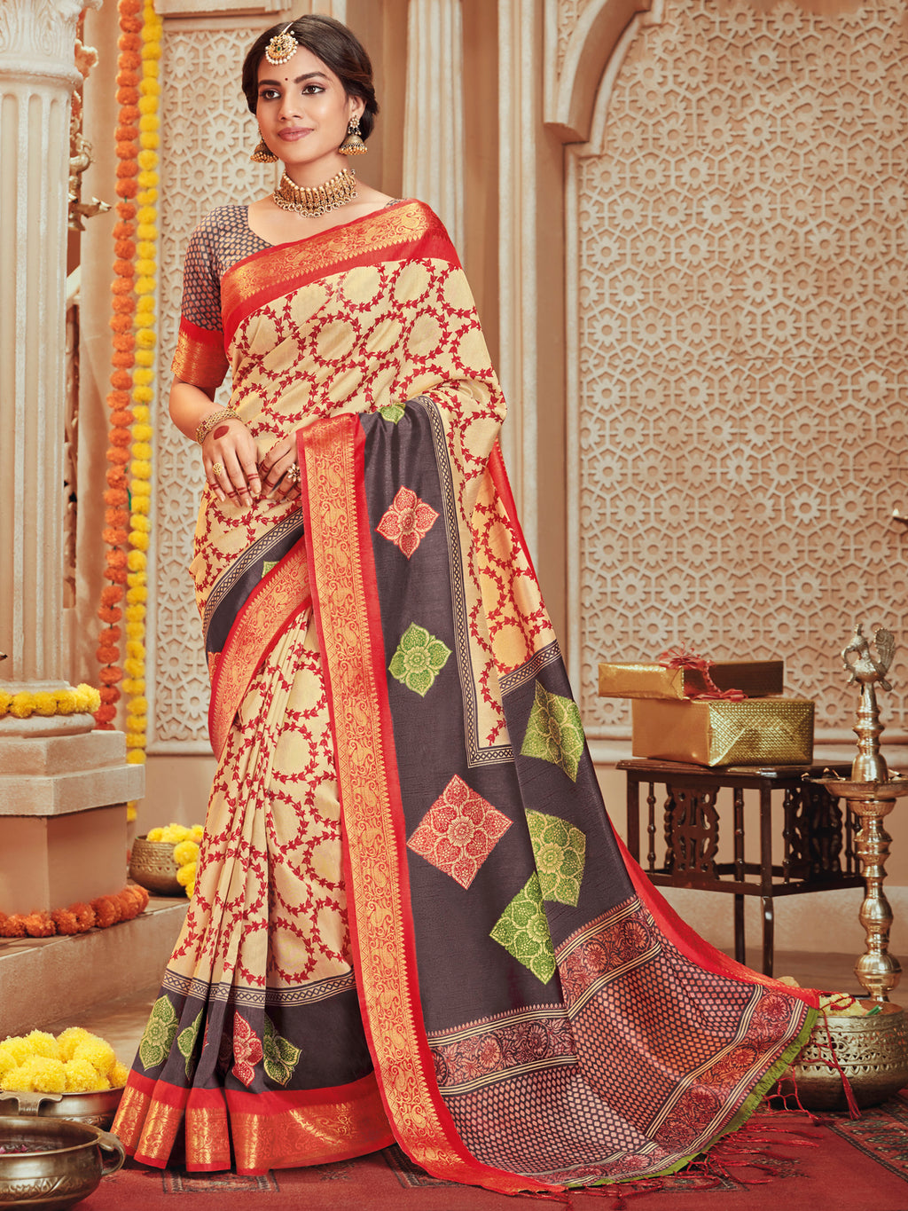 Cream Color Bhagalpuri Festive & Party Wear Sarees NYF-8673