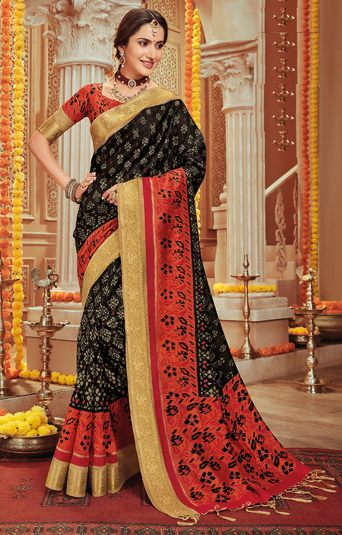Black and Rust Color Art Silk Material with Wooven Border Function wear Saree-Snehal Collection YF#10072
