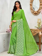 Green Color Wrinkle Chiffon Designer Party Wear Sarees : Pinaki Collection YF-69121