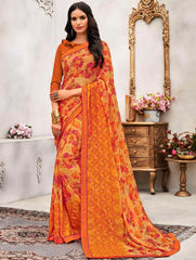 Orange Color Wrinkle Chiffon Designer Party Wear Sarees : Pinaki Collection YF-69122
