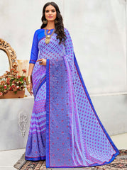 Lavender Color Wrinkle Chiffon Designer Party Wear Sarees : Pinaki Collection YF-69123
