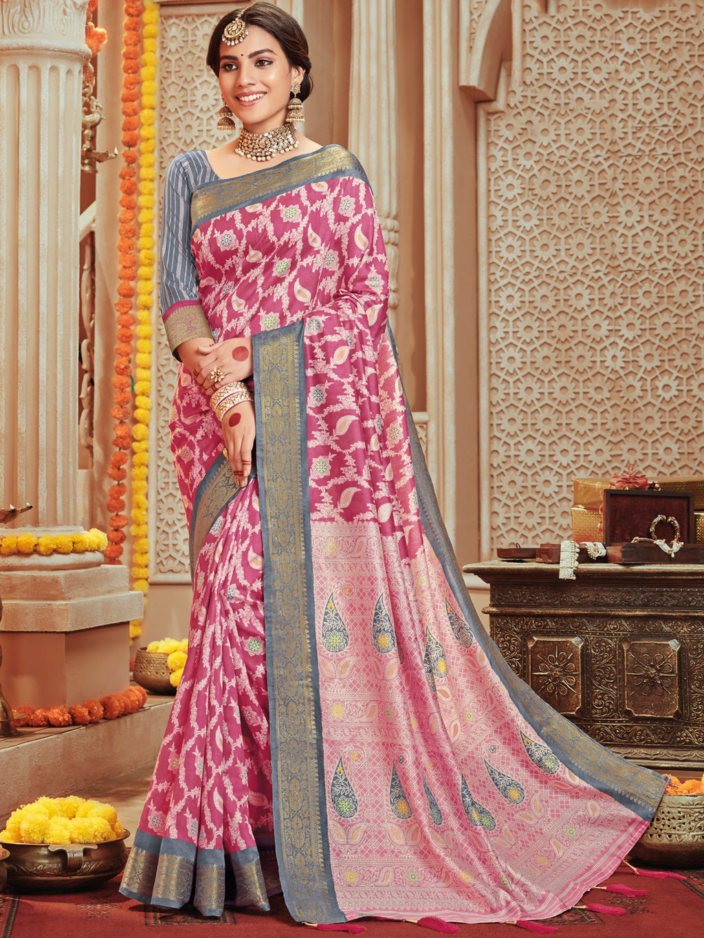 Pink Color Bhagalpuri Festive & Party Wear Sarees NYF-8676