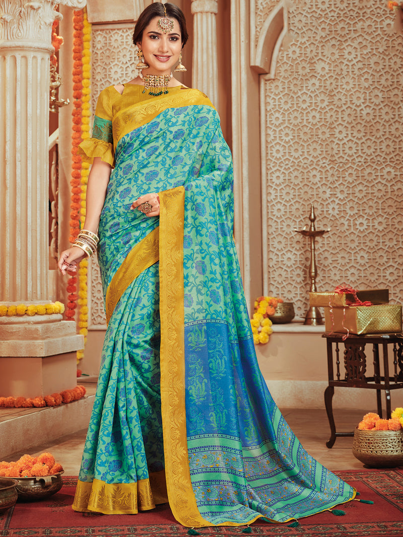 Aqua Green & Blue Color Bhagalpuri Festive & Party Wear Sarees NYF-8677