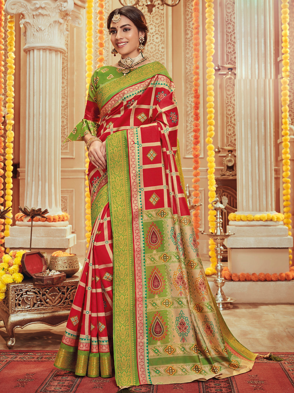 Red Color Bhagalpuri Festive & Party Wear Sarees NYF-8678