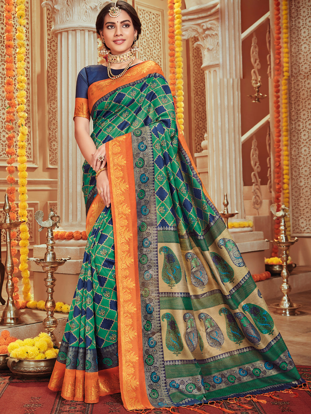 Green & Blue Color Bhagalpuri Festive & Party Wear Sarees NYF-8680