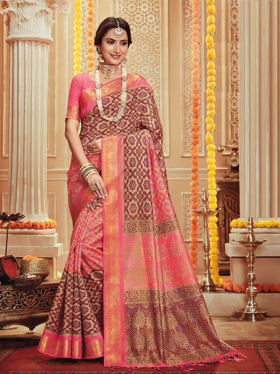 Pink Color Art Silk Material with Wooven Border Function wear Saree-Snehal Collection YF#10079