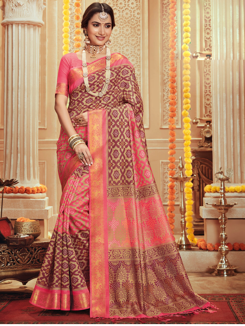Pink Color Bhagalpuri Festive & Party Wear Sarees NYF-8681