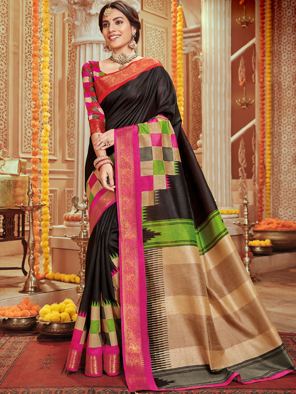 Black Color Bhagalpuri Festive & Party Wear Sarees NYF-8682