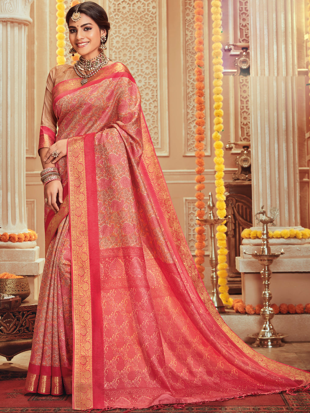 Pink Color Bhagalpuri Festive & Party Wear Sarees NYF-8683