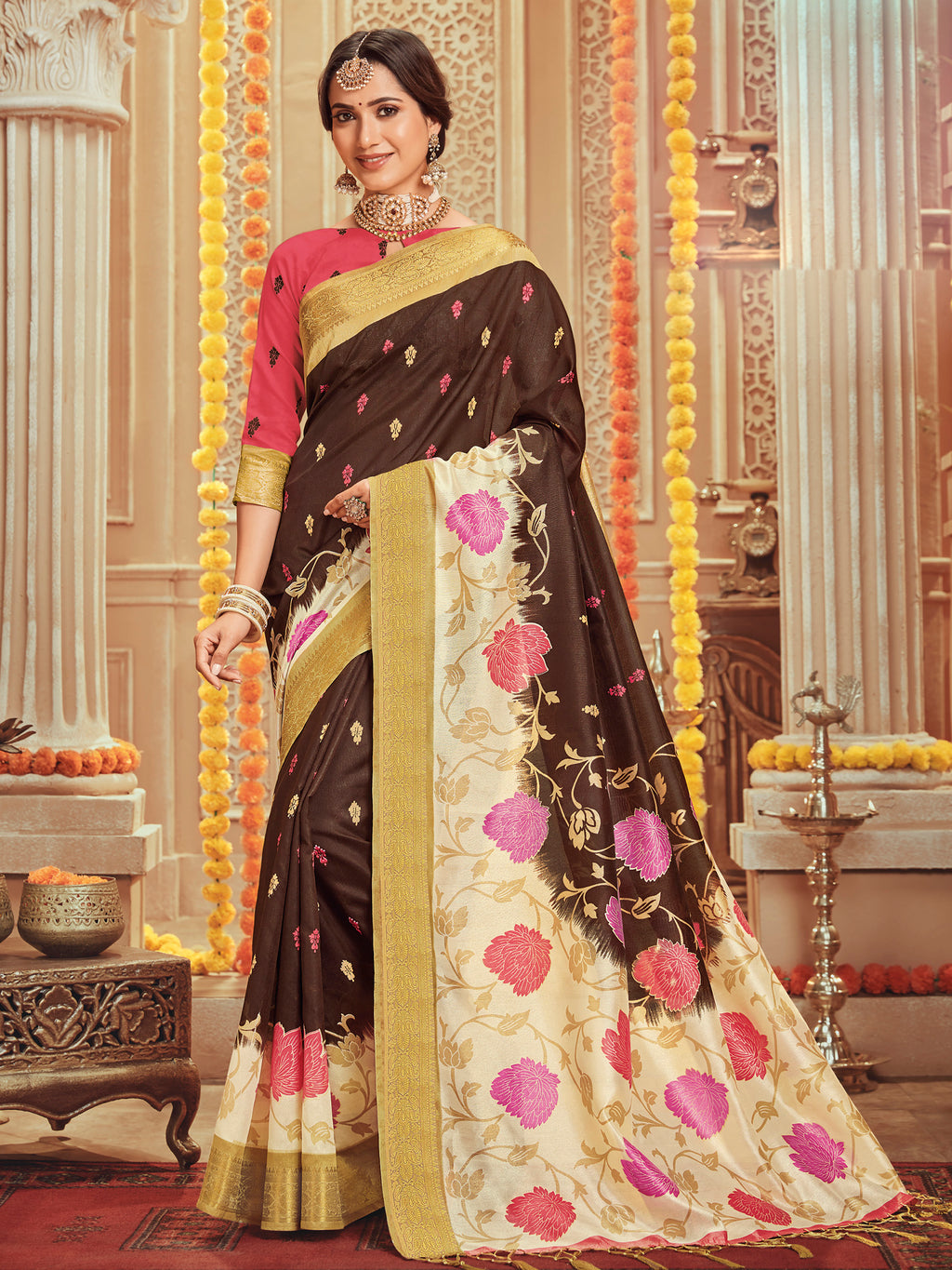 Brown Color Bhagalpuri Festive & Party Wear Sarees NYF-8684