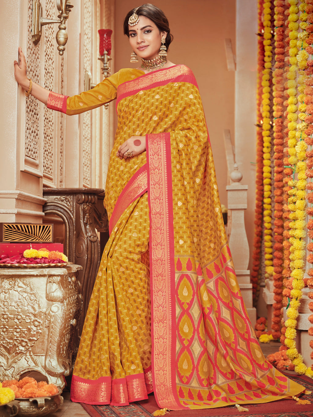 Mustard Yellow Color Bhagalpuri Festive & Party Wear Sarees NYF-8685