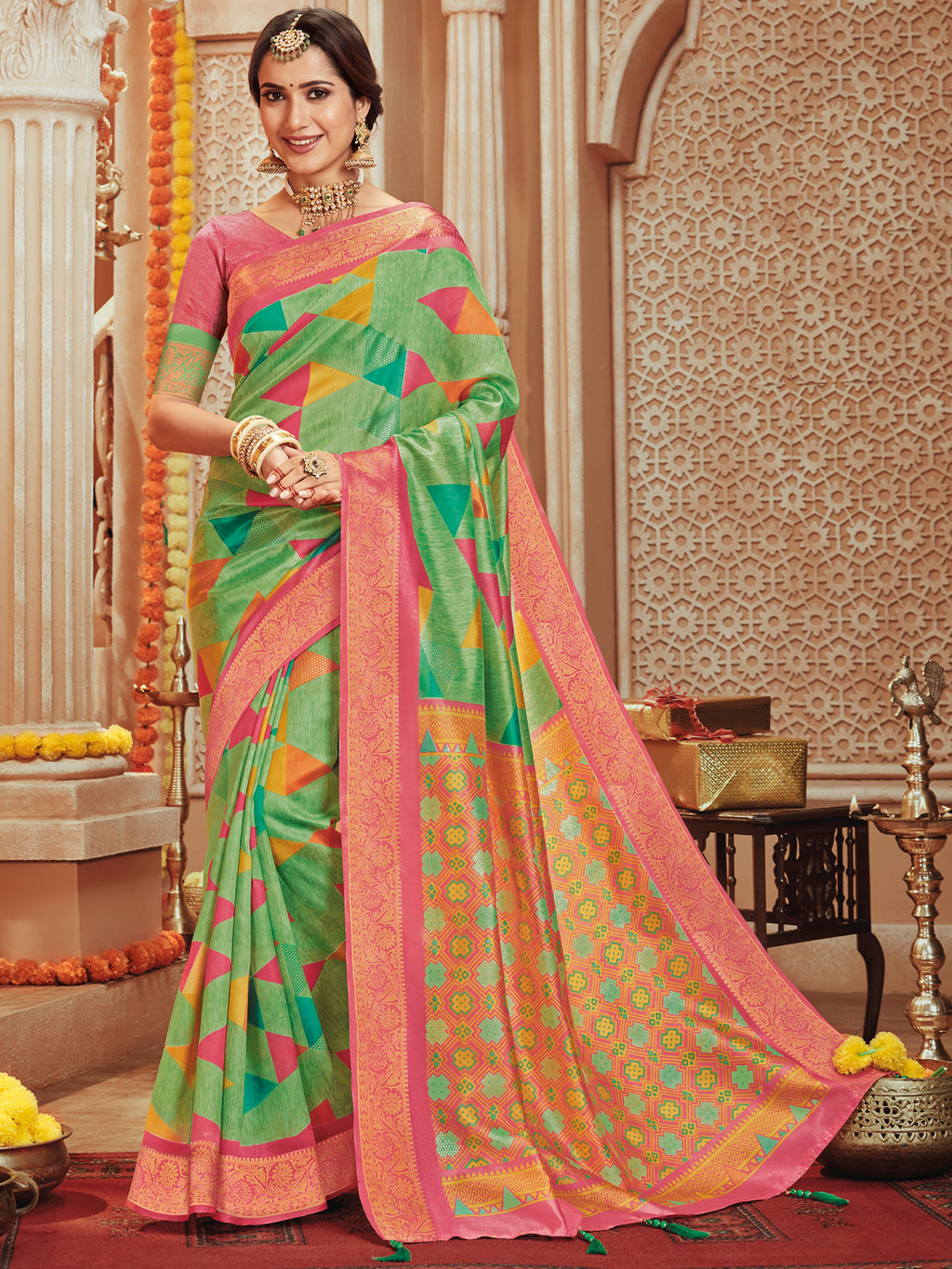 Green Color Bhagalpuri Festive & Party Wear Sarees NYF-8686