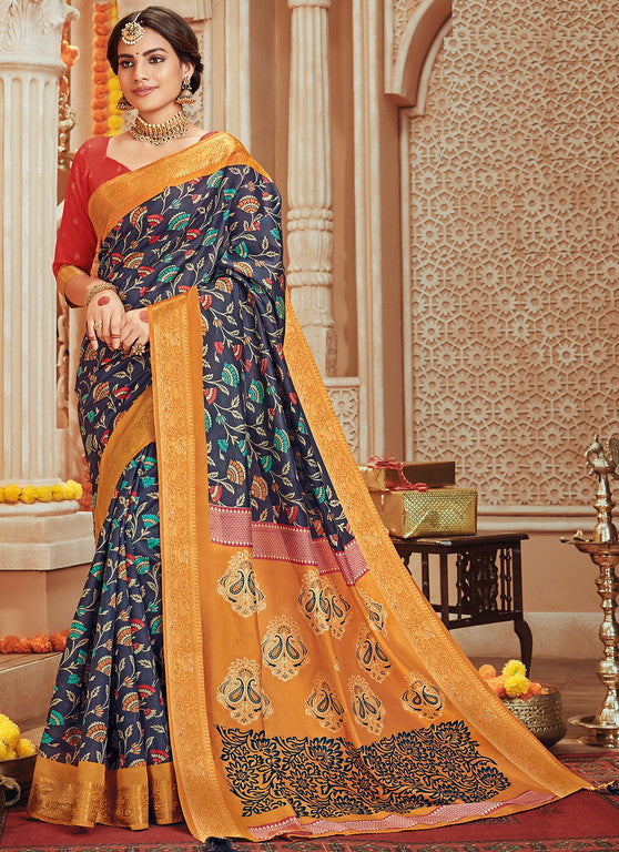 Navy Blue and yellow Color Art Silk Material with Wooven Border Function wear Saree-Snehal Collection YF#10085
