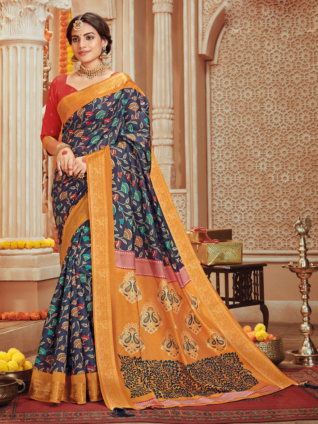 Blue Color Bhagalpuri Festive & Party Wear Sarees NYF-8687