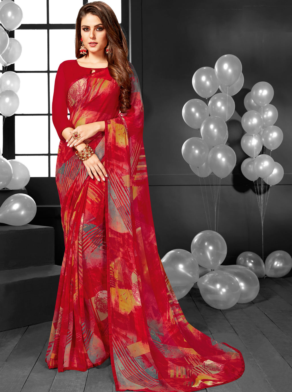 Red Color Georgette Printed Daily Wear Sarees NYF-6356