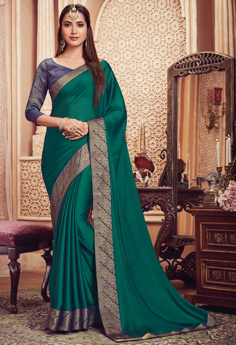 Green Color Chiffon Festive & Party Wear Sarees NYF-8598