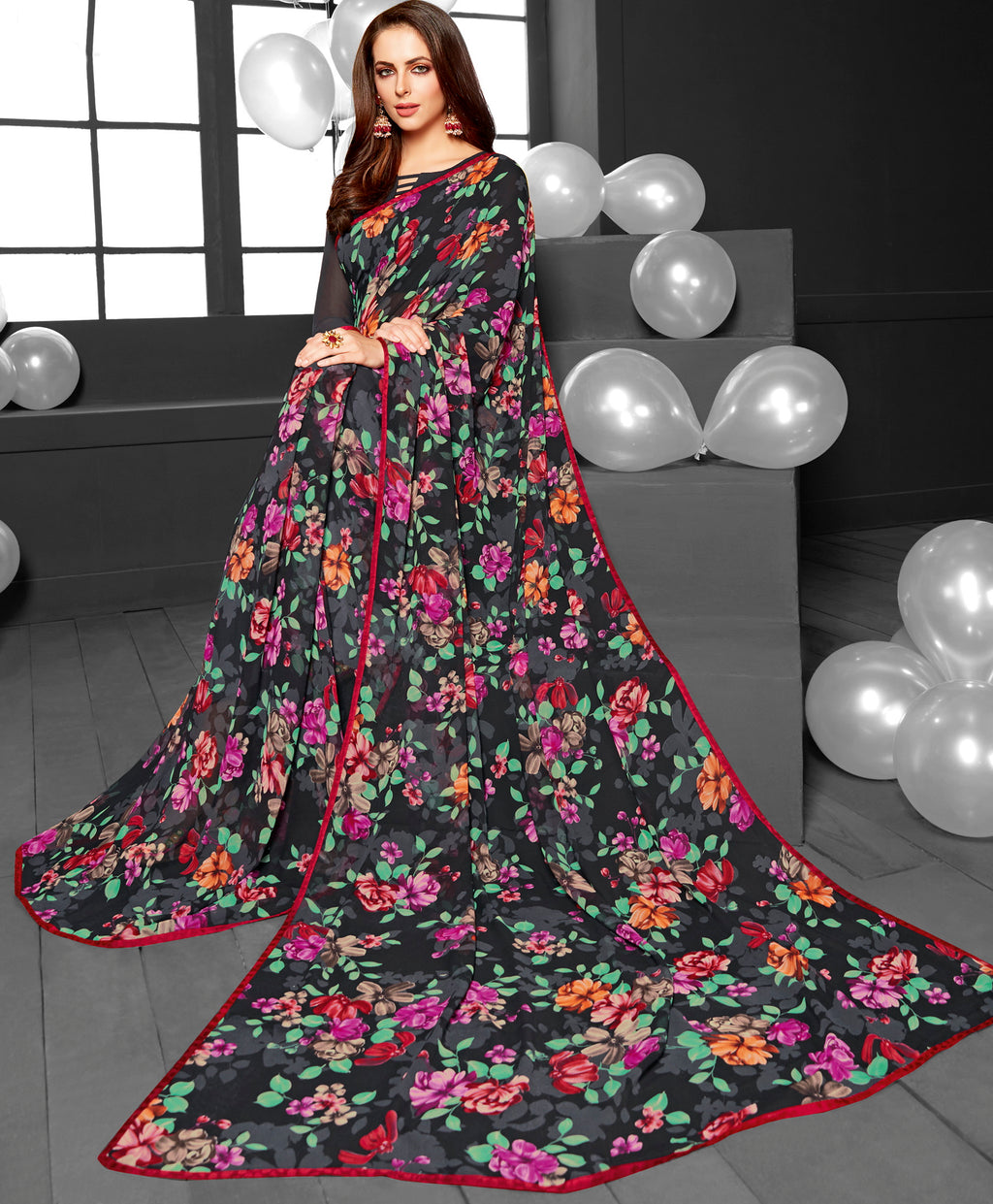 Black Color Georgette Printed Daily Wear Sarees NYF-6357