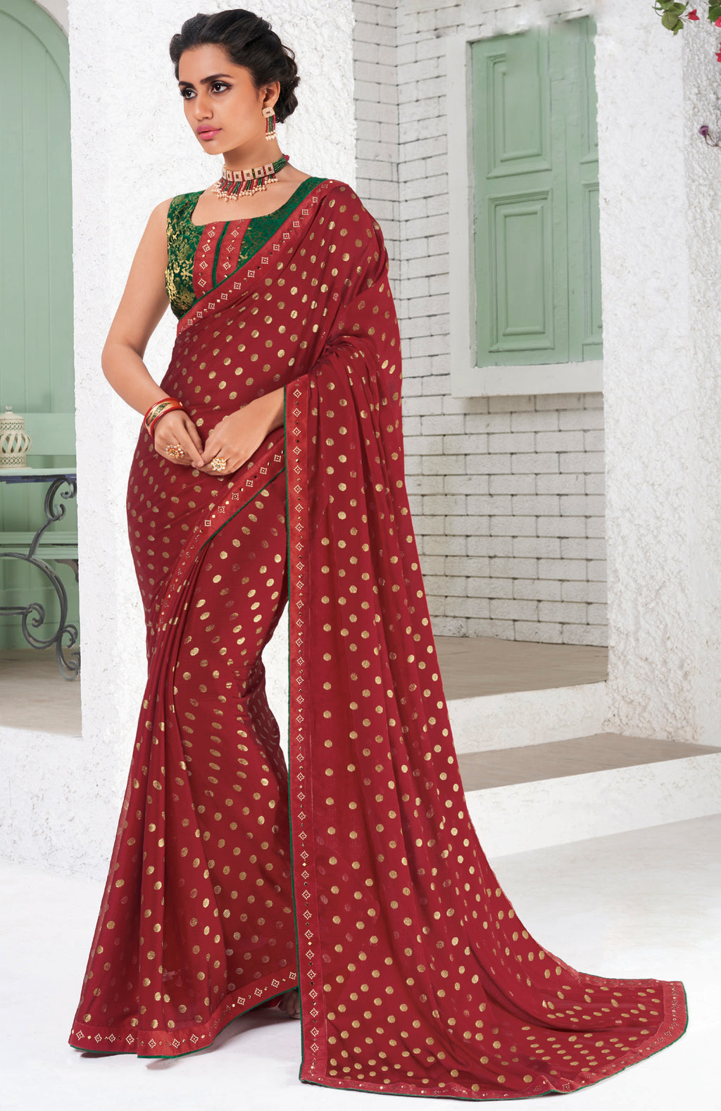 Red Color Chiffon Party Wear Sarees NYF-9691